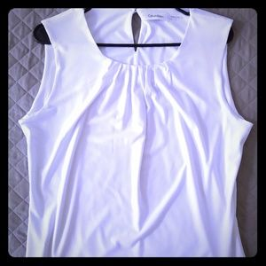 White Calvin Klein Sleeveless Pleated Top